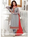Magnetic Faux Georgette Grey Embroidered Work Churidar Designer Suit