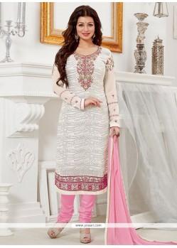 Lovely White Stone Work Churidar Designer Suit