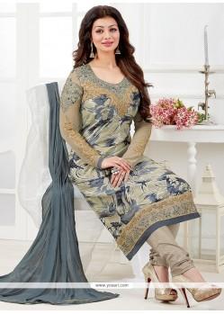 Engrossing Lace Work Churidar Designer Suit
