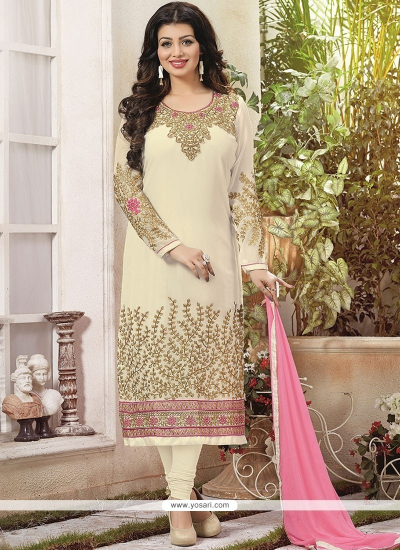 Ayesha Takia Cream Faux Georgette Churidar Designer Suit
