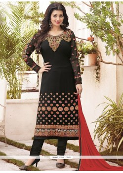 Ayesha Takia Faux Georgette Black Lace Work Churidar Designer Suit