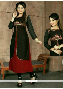 Miraculous Black Embroidered Work Fancy Fabric Party Wear Kurti
