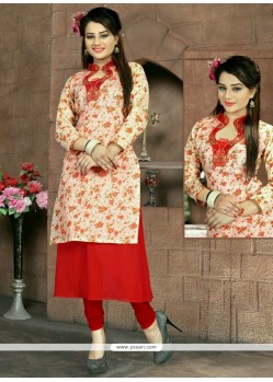 Stupendous Embroidered Work Red Faux Georgette Party Wear Kurti