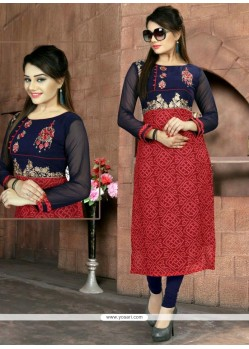 Strange Faux Georgette Navy Blue And Red Embroidered Work Party Wear Kurti