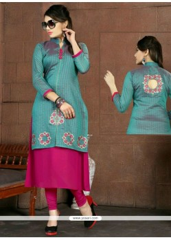 Adorable Embroidered Work Blue Fancy Fabric Party Wear Kurti