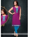 Breathtaking Cotton Lace Work Party Wear Kurti