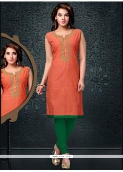 Honourable Lace Work Orange Cotton Party Wear Kurti