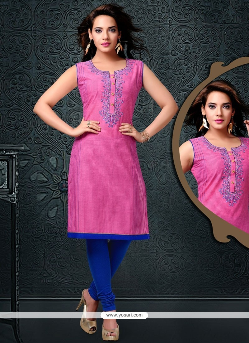 Ruritanian Pink Embroidered Work Cotton Party Wear Kurti