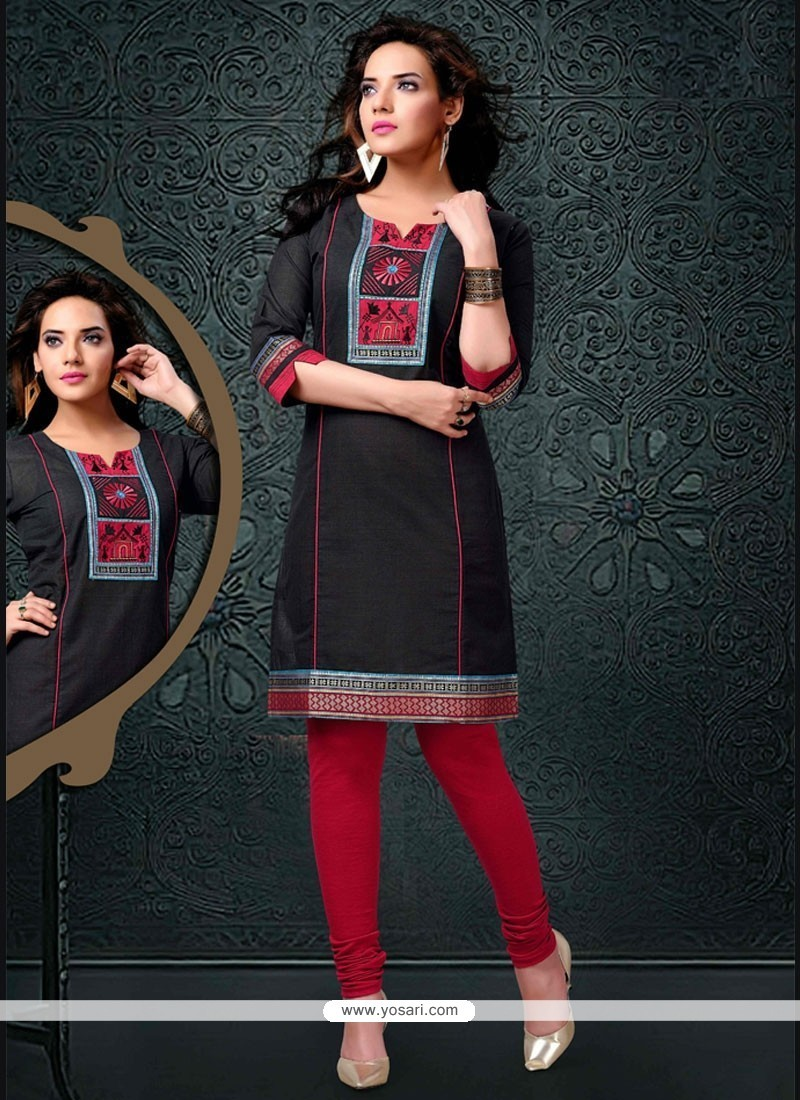 Aristocratic Cotton Brown Lace Work Party Wear Kurti