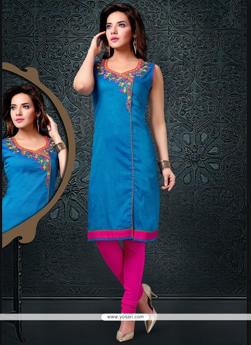 Exceeding Cotton Silk Blue Party Wear Kurti