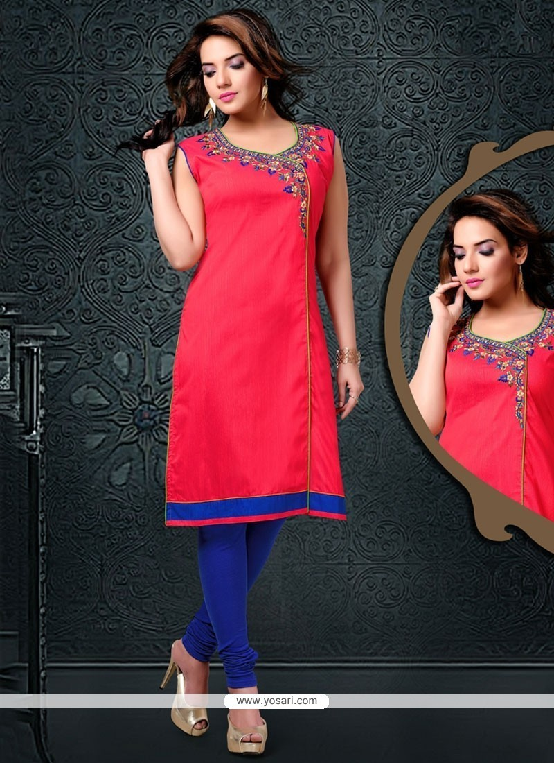 Ethnic Embroidered Work Cotton Silk Party Wear Kurti