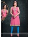 Peppy Lace Work Cotton Pink Party Wear Kurti