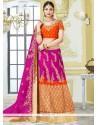 Magenta And Orange Zari Work Lehenga Choli