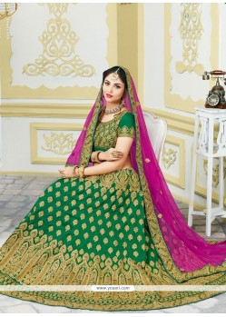 Pleasing Bhagalpuri Silk Green Embroidered Work Lehenga Choli