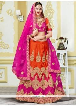 Versatile Patch Border Work Hot Pink And Orange Bhagalpuri Silk Lehenga Choli