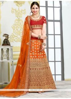 Cute Patch Border Work Orange And Red Lehenga Choli