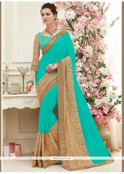 Adorable Faux Georgette Turquoise Classic Saree