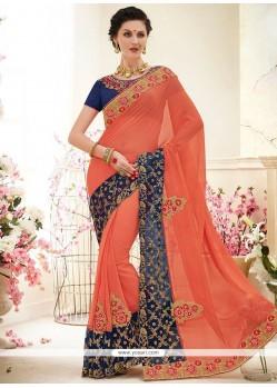 Remarkable Faux Chiffon Orange Classic Designer Saree