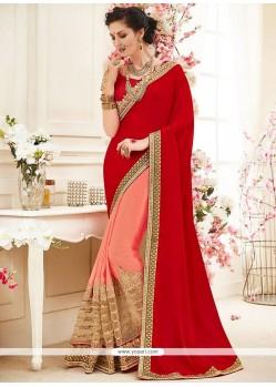 Customary Pink And Red Faux Georgette Designer Half N Half Saree