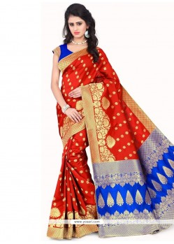 Red Weaving Work Banarasi Silk Traditional Saree