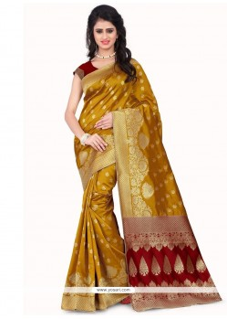Zesty Mustard Banarasi Silk Designer Traditional Saree