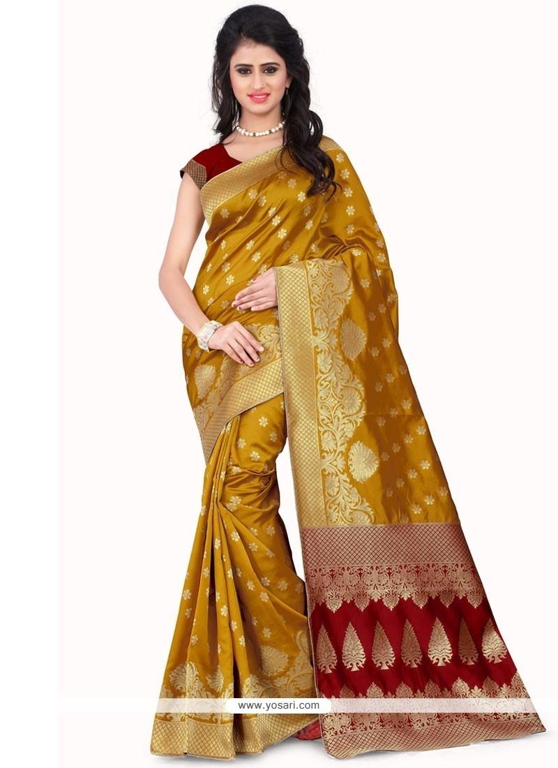 Zesty Mustard Banarasi Silk Designer Traditional Saree