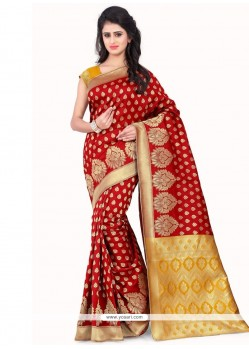 Distinguishable Banarasi Silk Red Traditional Designer Saree
