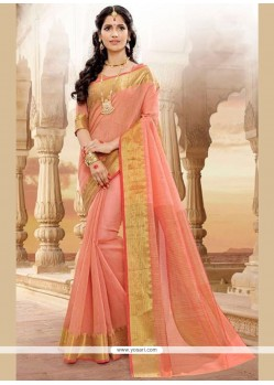 Delectable Patch Border Work Peach Traditional Designer Saree