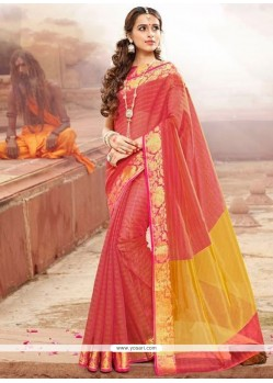 Glossy Red Patch Border Work Traditional Designer Saree