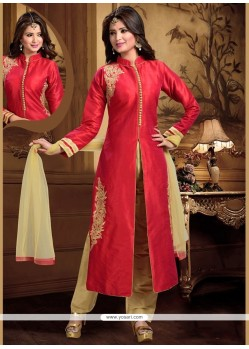Piquant Dupion Silk Embroidered Work Readymade Suit