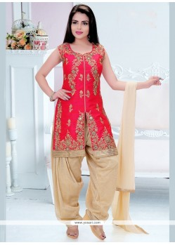 Red Dupion Silk Readymade Suit