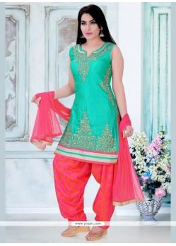 Resplendent Dupion Silk Resham Work Readymade Suit