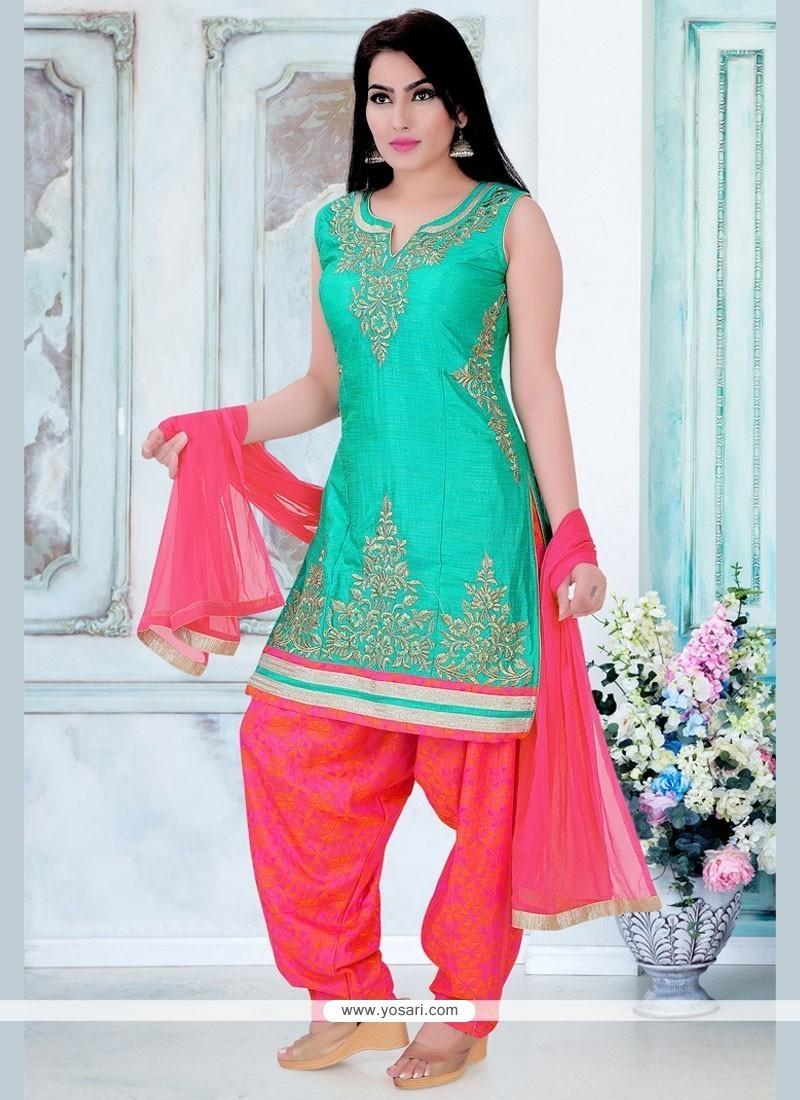 Buy Resplendent Dupion Silk Resham Work Readymade Suit | Wedding Suits