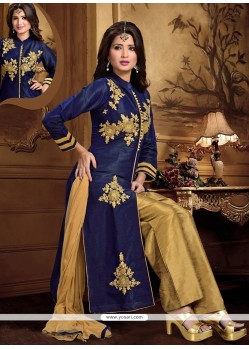 Attractive Embroidered Work Navy Blue Dupion Silk Readymade Suit