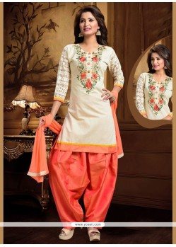 Engrossing Embroidered Work Peach And White Art Silk Readymade Suit