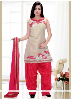 Energetic Art Silk Hot Pink And White Embroidered Work Readymade Suit