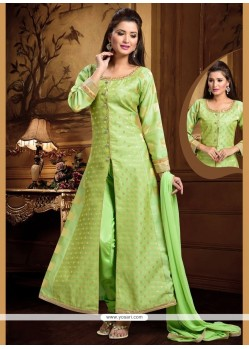 Entrancing Embroidered Work Green Readymade Suit