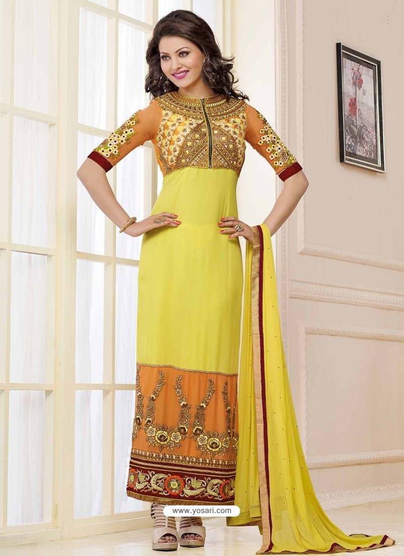 Yellow and Orange Georgette Churidar Suit