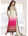 Off White And Pink Georgette Churidar Suit