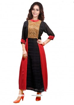 Subtle Faux Georgette Embroidered Work Party Wear Kurti
