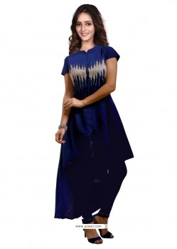 Magnificent Faux Georgette Navy Blue Party Wear Kurti