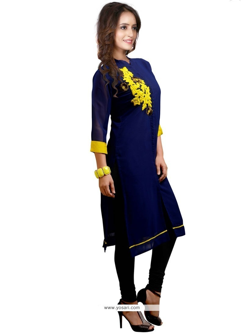 Praiseworthy Navy Blue Embroidered Work Party Wear Kurti