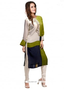 Distinguishable Faux Georgette Print Work Party Wear Kurti