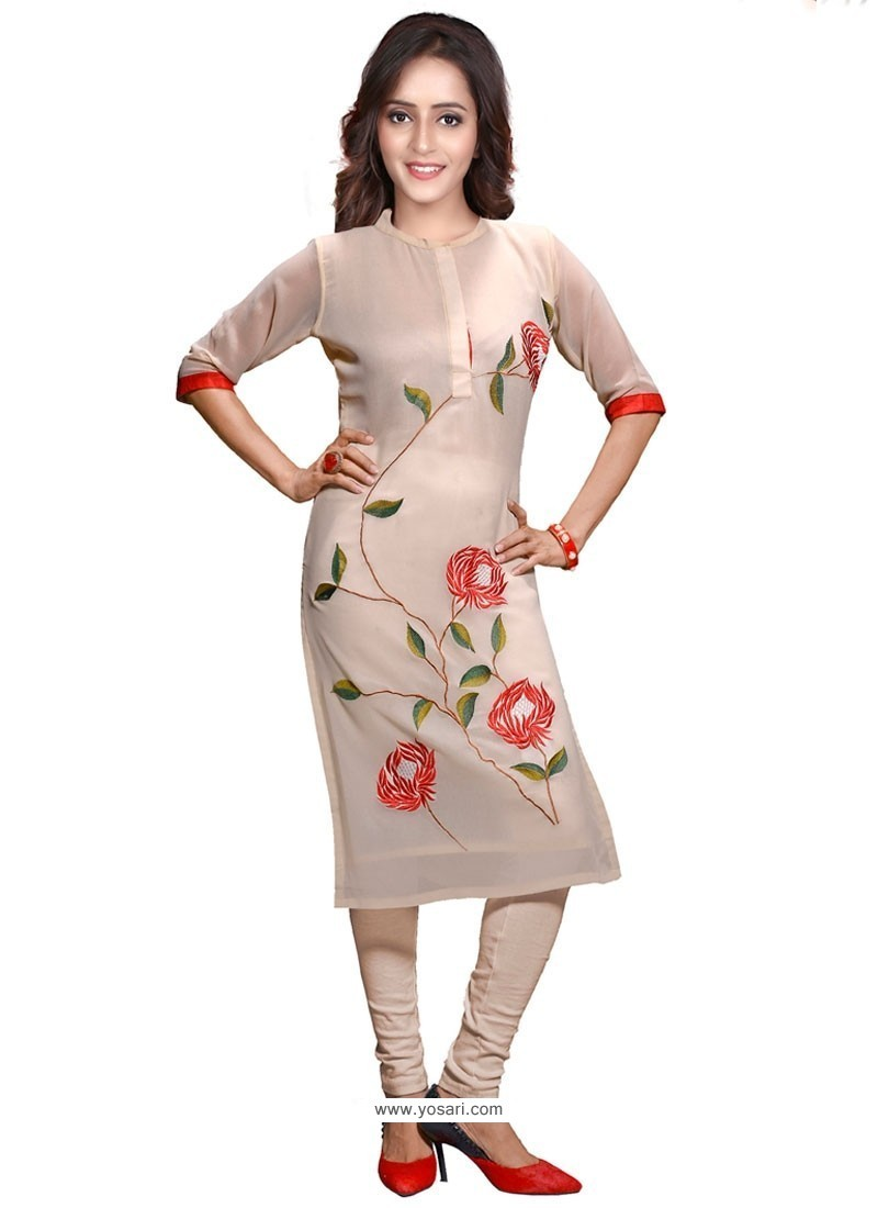 Buy Renowned Embroidered Work Party Wear Kurti Party