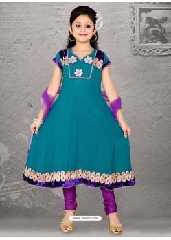 Flattering Violet Art Silk Salwar Kameez