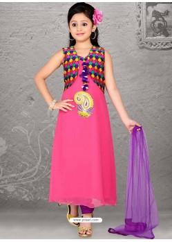 Groovy Violet Art Silk Salwar Kameez