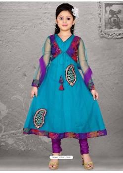 Dashing Violet Art Silk Salwar Kameez