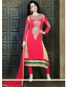 Red Georgette Churidar Suit