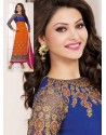 Blue And Orange Georgette Churidar Suit