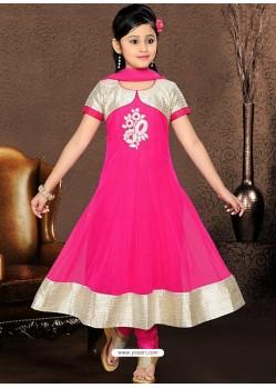 Sizzling Pink Art Silk Salwar Kameez